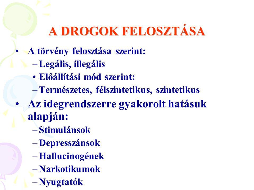 A DROGOK FELOSZTÁSA A törvény felosztása szerint: –Legális, illegális Előállítási mód szerint: –Természetes, félszintetikus, szintetikus Az idegrendsz