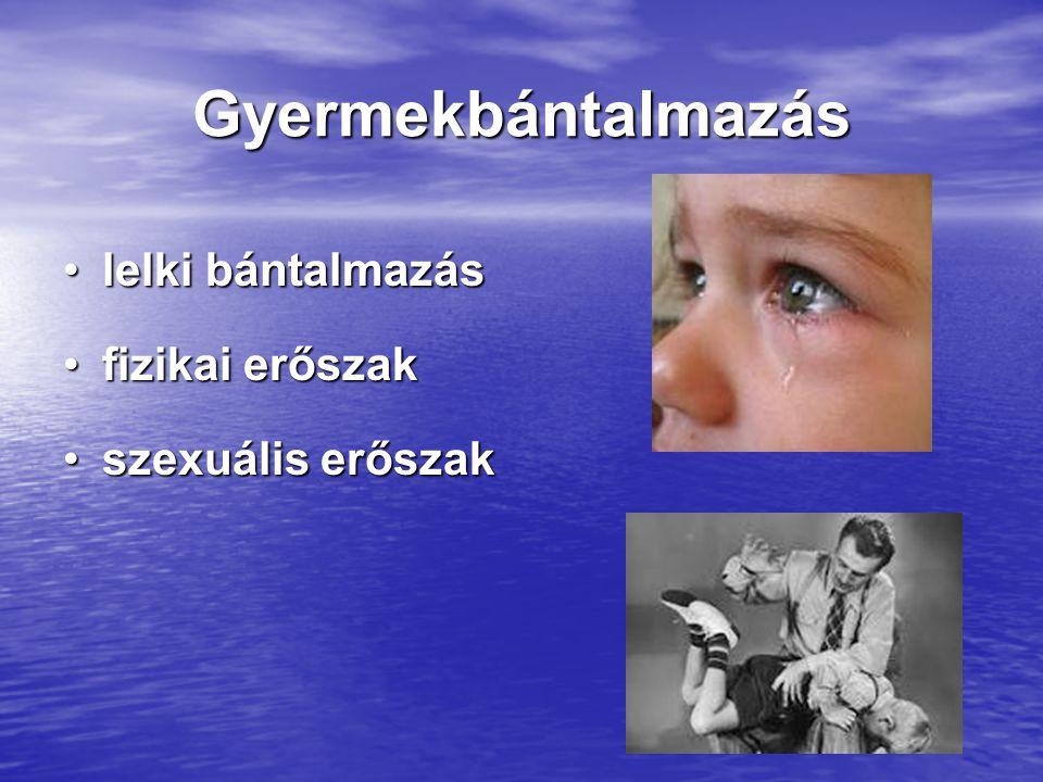 Gyermekbántalmazás lelki bántalmazáslelki bántalmazás fizikai erőszakfizikai erőszak szexuális erőszakszexuális erőszak