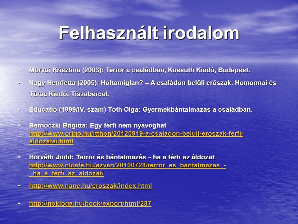 Felhasznált irodalom Morvai Krisztina (2003): Terror a családban, Kossuth Kiadó, Budapest.Morvai Krisztina (2003): Terror a családban, Kossuth Kiadó, Budapest.