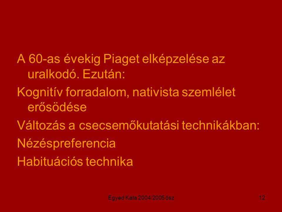 Egyed Kata 2004/2005 ősz12 A 60-as évekig Piaget elképzelése az uralkodó. Ezután: Kognitív forradalom, nativista szemlélet erősödése Változás a csecse