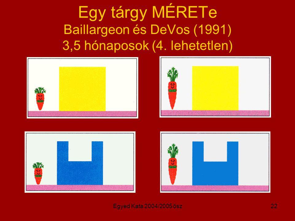 Egyed Kata 2004/2005 ősz22 Egy tárgy MÉRETe Baillargeon és DeVos (1991) 3,5 hónaposok (4. lehetetlen)