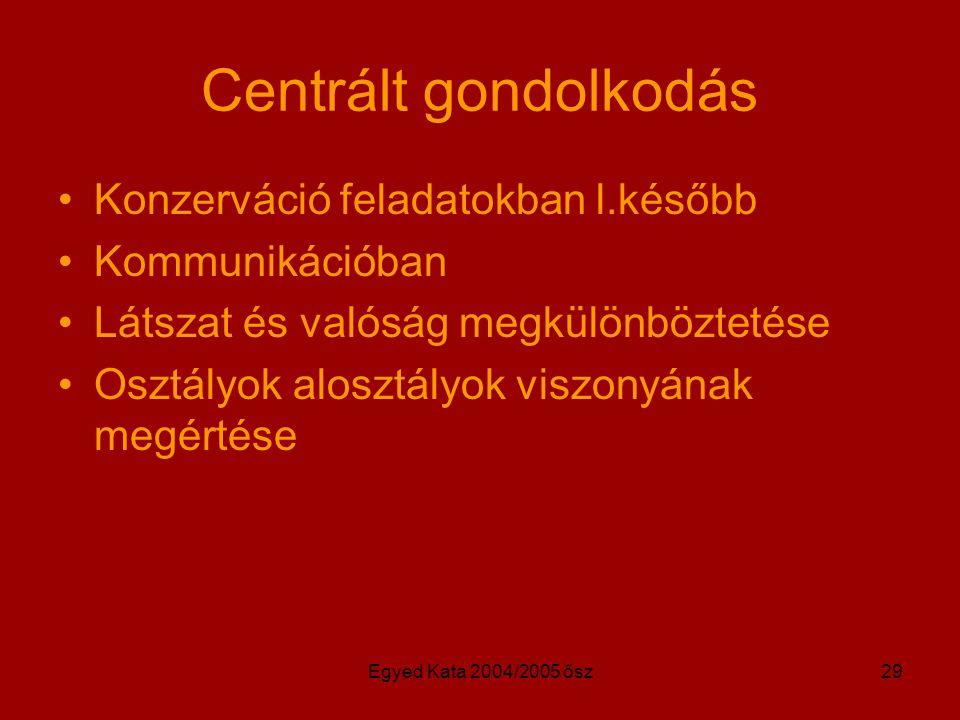 Egyed Kata 2004/2005 ősz29 Centrált gondolkodás Konzerváció feladatokban l.később Kommunikációban Látszat és valóság megkülönböztetése Osztályok alosztályok viszonyának megértése