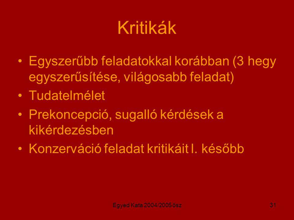 Egyed Kata 2004/2005 ősz31 Kritikák Egyszerűbb feladatokkal korábban (3 hegy egyszerűsítése, világosabb feladat) Tudatelmélet Prekoncepció, sugalló kérdések a kikérdezésben Konzerváció feladat kritikáit l.