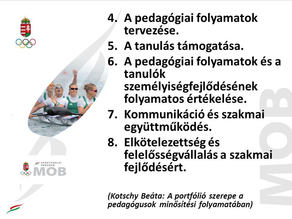 4.A pedagógiai folyamatok tervezése.5.A tanulás támogatása.