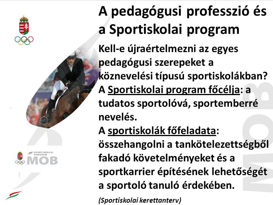 A pedagógusi professzió és a Sportiskolai program Kell-e újraértelmezni az egyes pedagógusi szerepeket a köznevelési típusú sportiskolákban.