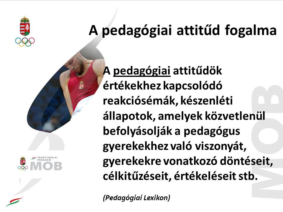 A pedagógiai attitűd fogalma A pedagógiai attitűdök értékekhez kapcsolódó reakciósémák, készenléti állapotok, amelyek közvetlenül befolyásolják a pedagógus gyerekekhez való viszonyát, gyerekekre vonatkozó döntéseit, célkitűzéseit, értékeléseit stb.