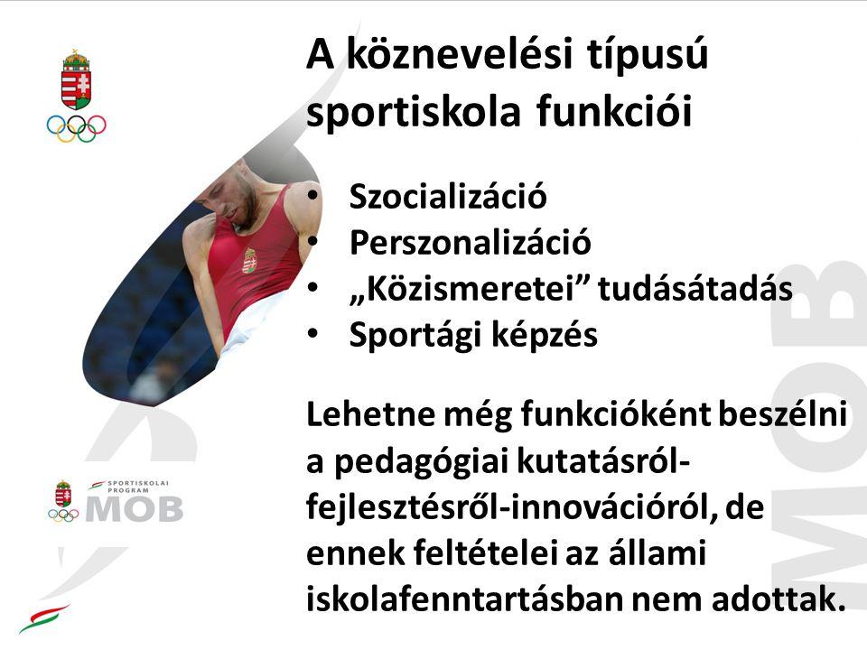 """A köznevelési típusú sportiskola funkciói Szocializáció Perszonalizáció """"Közismeretei tudásátadás Sportági képzés Lehetne még funkcióként beszélni a pedagógiai kutatásról- fejlesztésről-innovációról, de ennek feltételei az állami iskolafenntartásban nem adottak."""