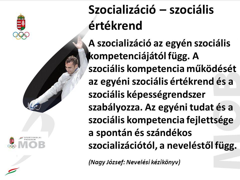 Szocializáció – szociális értékrend A szocializáció az egyén szociális kompetenciájától függ.