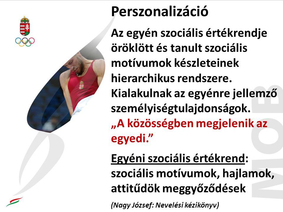 Perszonalizáció Az egyén szociális értékrendje öröklött és tanult szociális motívumok készleteinek hierarchikus rendszere.