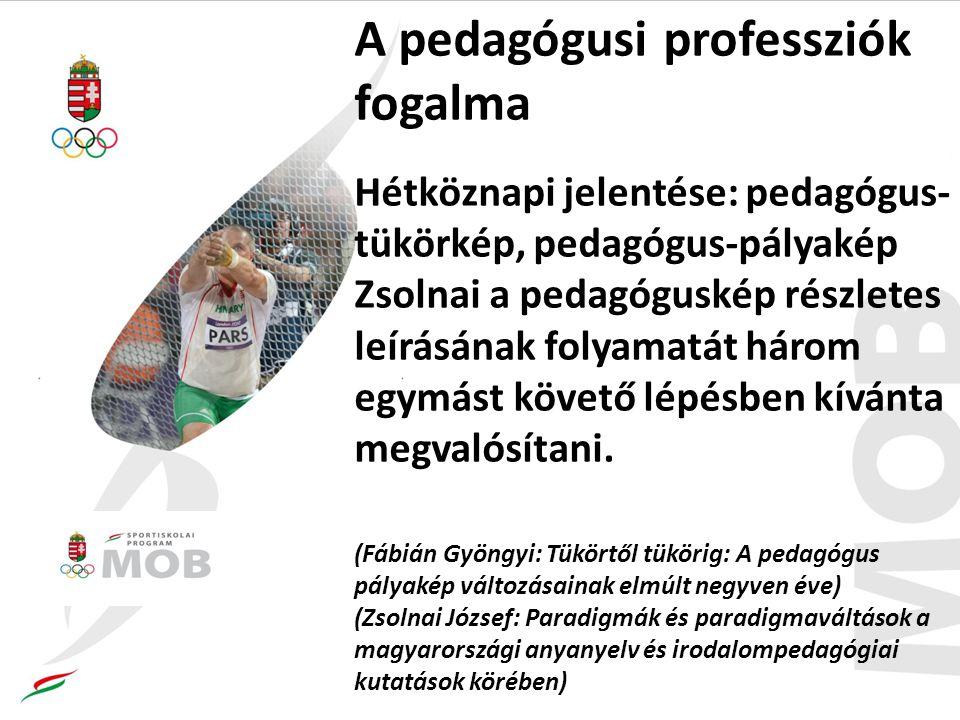 A pedagógusi professziók fogalma Hétköznapi jelentése: pedagógus- tükörkép, pedagógus-pályakép Zsolnai a pedagóguskép részletes leírásának folyamatát három egymást követő lépésben kívánta megvalósítani.