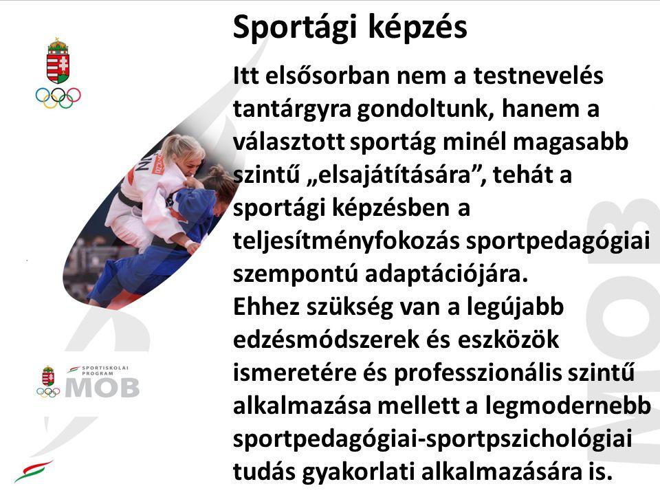"""Sportági képzés Itt elsősorban nem a testnevelés tantárgyra gondoltunk, hanem a választott sportág minél magasabb szintű """"elsajátítására , tehát a sportági képzésben a teljesítményfokozás sportpedagógiai szempontú adaptációjára."""