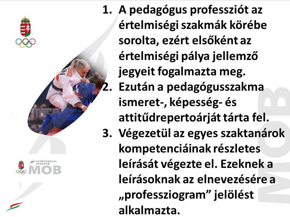Az 1996-ban kidolgozott professziogramok az iskola hármas funkciójának megfelelően a szocializációs, a perszonalizációs és a kultúraközvetítői szerep perspektívájából szemlélve, felsorolásszerűen fogalmazzák meg minden egyes szaktárgyat oktató pedagógus sikeres működéséhez elengedhetetlen tevékenységeket, hogy ezen keresztül mindenre kiterjedő képet nyújtsanak a pálya tevékenységspektrumáról.
