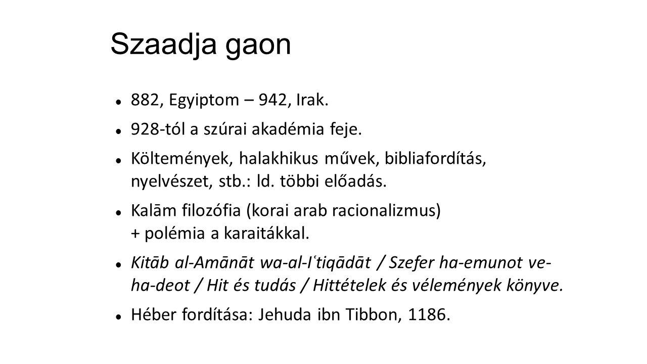 Szaadja gaon 882, Egyiptom – 942, Irak.928-tól a szúrai akadémia feje.