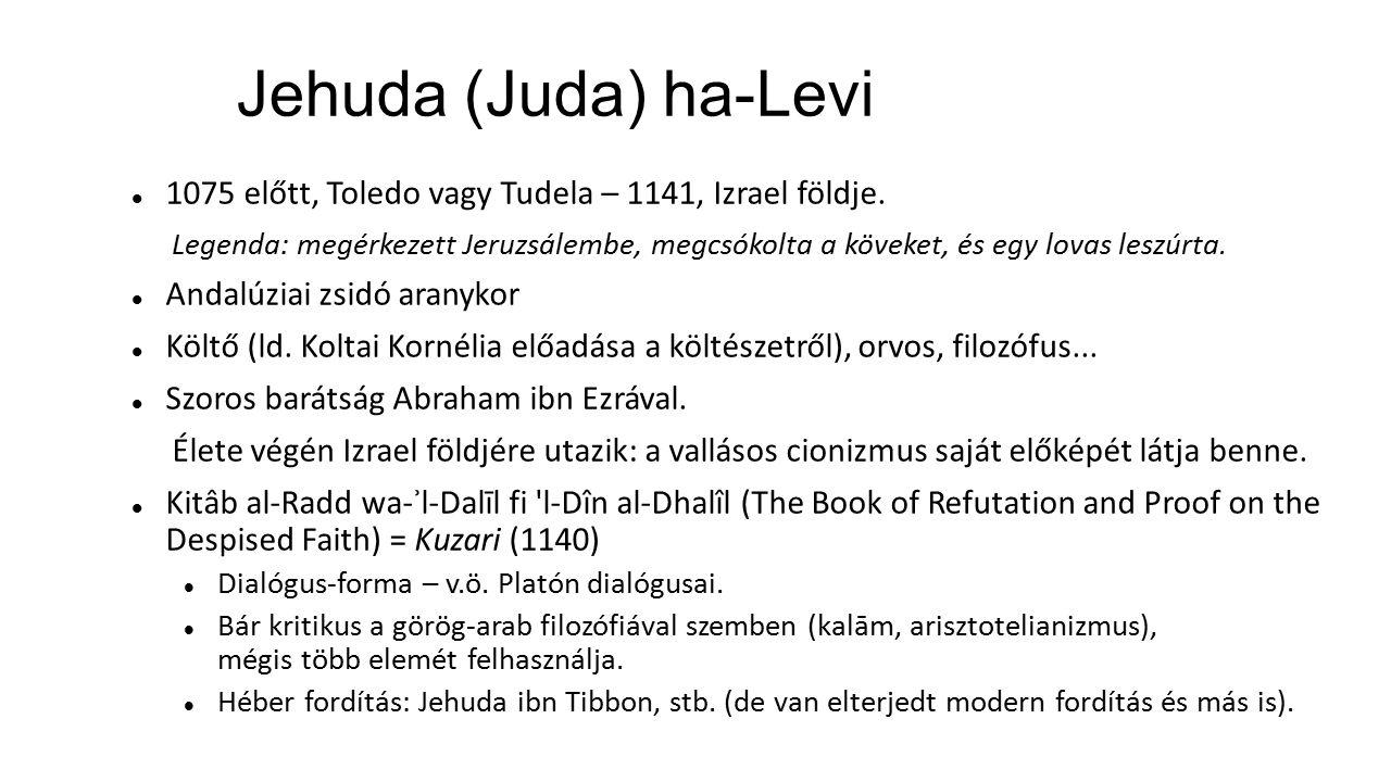 Jehuda (Juda) ha-Levi 1075 előtt, Toledo vagy Tudela – 1141, Izrael földje.