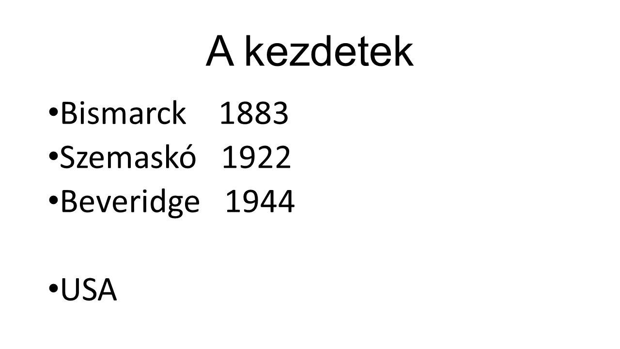 A kezdetek Bismarck 1883 Szemaskó 1922 Beveridge 1944 USA