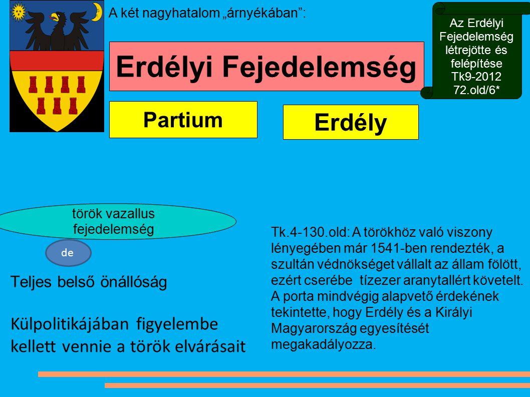 Erdély Partium Teljes belső önállóság török vazallus fejedelemség Erdélyi Fejedelemség de Külpolitikájában figyelembe kellett vennie a török elvárásai