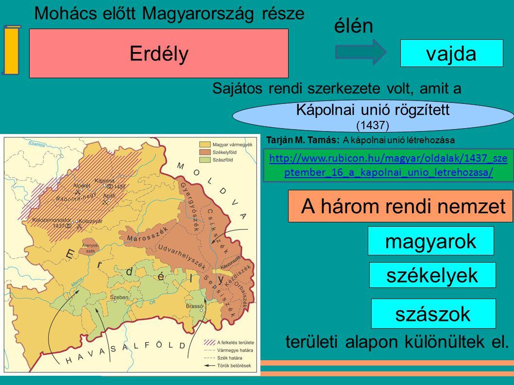 magyarok Kápolnai unió rögzített (1437) Erdély szászok A három rendi nemzet vajda élén székelyek Mohács előtt Magyarország része Sajátos rendi szerkez