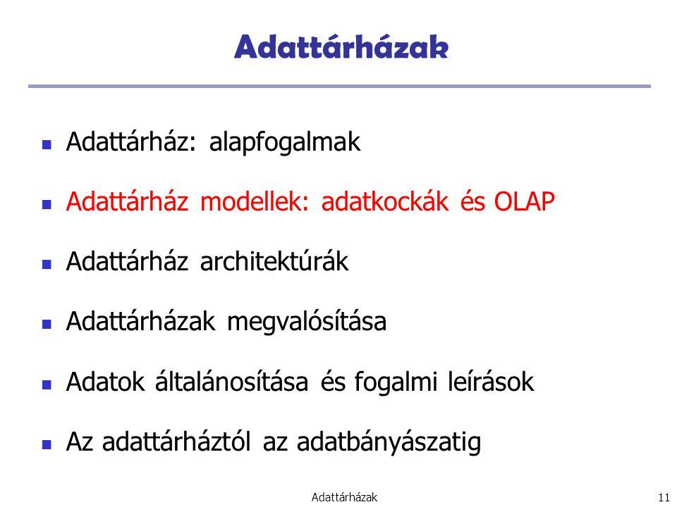 Adattárházak 11 Adattárházak Adattárház: alapfogalmak Adattárház modellek: adatkockák és OLAP Adattárház architektúrák Adattárházak megvalósítása Adatok általánosítása és fogalmi leírások Az adattárháztól az adatbányászatig