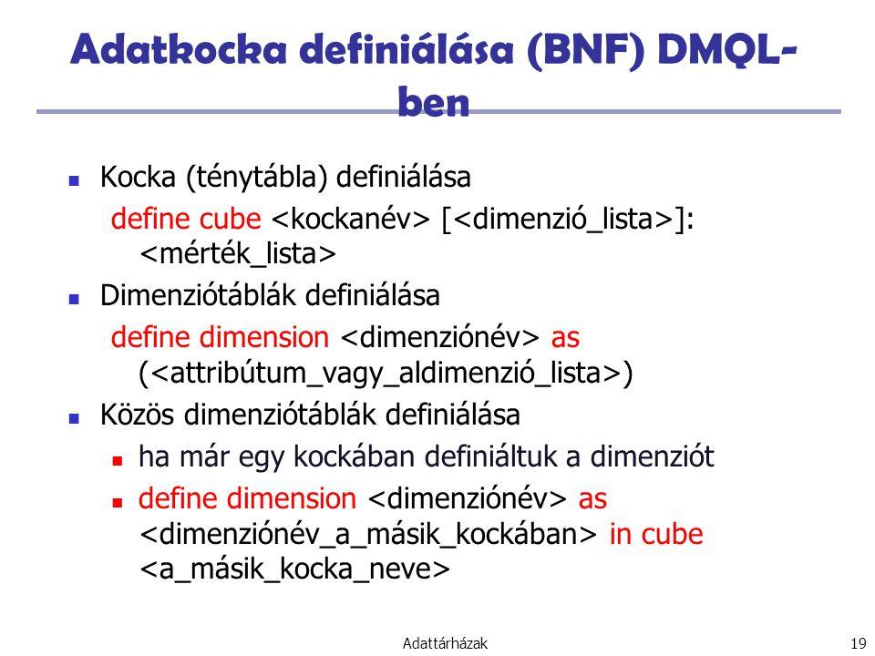 Adattárházak 19 Adatkocka definiálása (BNF) DMQL- ben Kocka (ténytábla) definiálása define cube [ ]: Dimenziótáblák definiálása define dimension as ( ) Közös dimenziótáblák definiálása ha már egy kockában definiáltuk a dimenziót define dimension as in cube