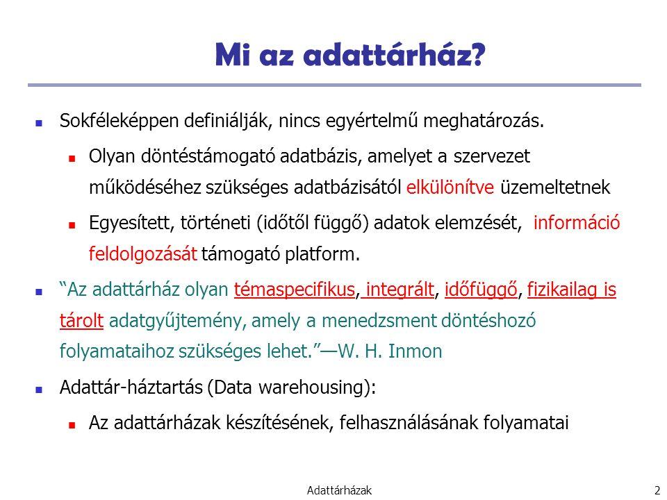 Adattárházak 43 Adattárházak Adattárház: alapfogalmak Adattárház modellek: adatkockák és OLAP Adattárház architektúrák Adattárházak megvalósítása Adatok általánosítása és fogalmi leírások Az adattárháztól az adatbányászatig