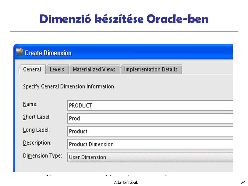 Adattárházak 24 Dimenzió készítése Oracle-ben