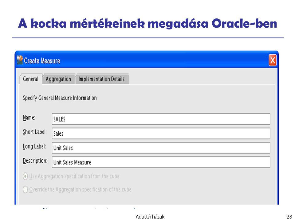 Adattárházak 28 A kocka mértékeinek megadása Oracle-ben