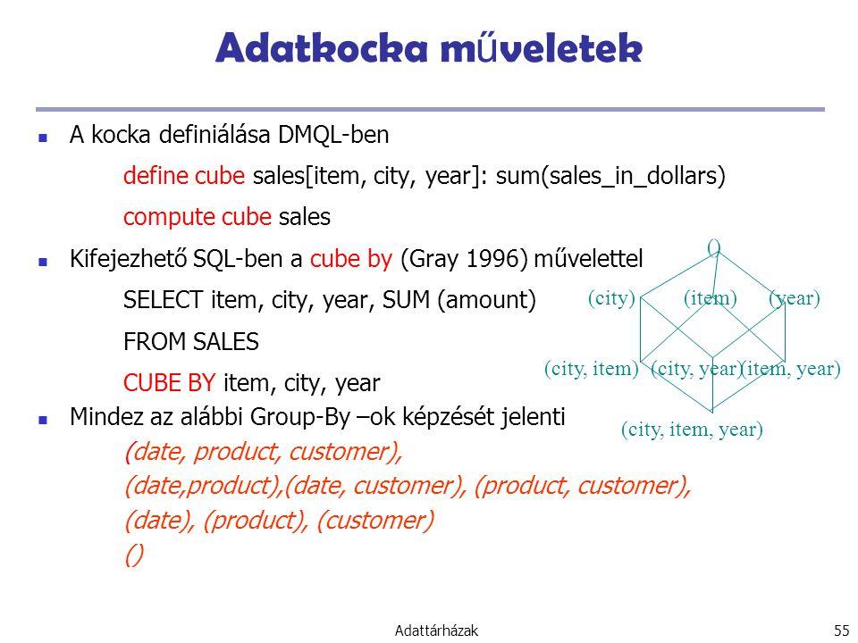 Adattárházak 55 Adatkocka m ű veletek A kocka definiálása DMQL-ben define cube sales[item, city, year]: sum(sales_in_dollars) compute cube sales Kifejezhető SQL-ben a cube by (Gray 1996) művelettel SELECT item, city, year, SUM (amount) FROM SALES CUBE BY item, city, year Mindez az alábbi Group-By –ok képzését jelenti (date, product, customer), (date,product),(date, customer), (product, customer), (date), (product), (customer) () (item)(city) () (year) (city, item)(city, year)(item, year) (city, item, year)