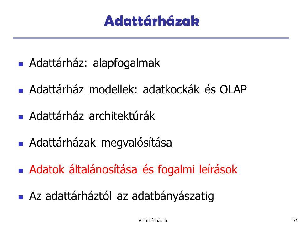 Adattárházak 61 Adattárházak Adattárház: alapfogalmak Adattárház modellek: adatkockák és OLAP Adattárház architektúrák Adattárházak megvalósítása Adatok általánosítása és fogalmi leírások Az adattárháztól az adatbányászatig