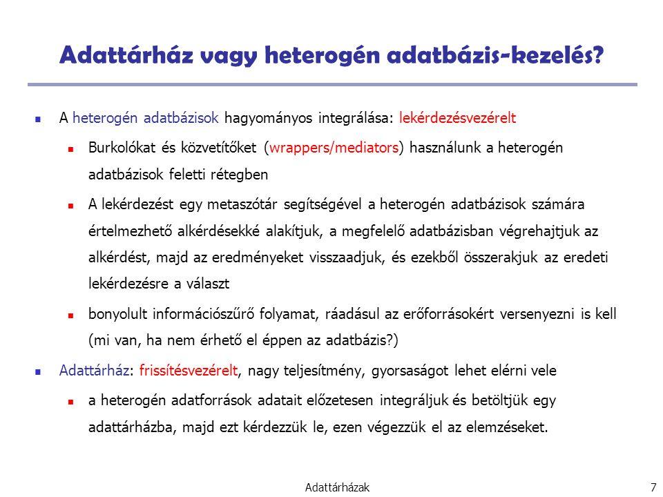 Adattárházak 7 Adattárház vagy heterogén adatbázis-kezelés.