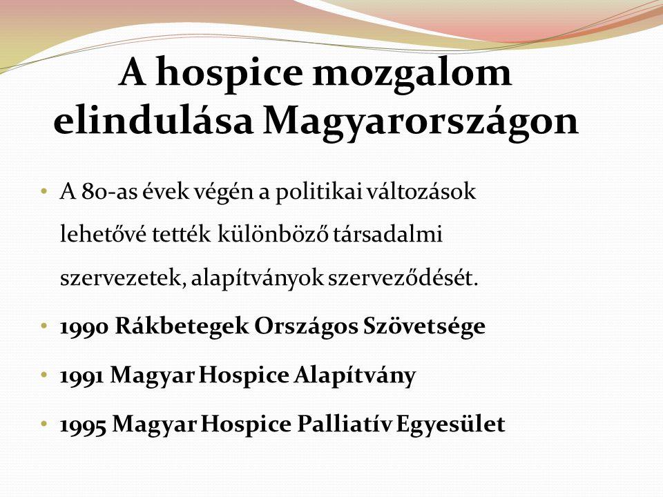 A hospice mozgalom elindulása Magyarországon A 80-as évek végén a politikai változások lehetővé tették különböző társadalmi szervezetek, alapítványok