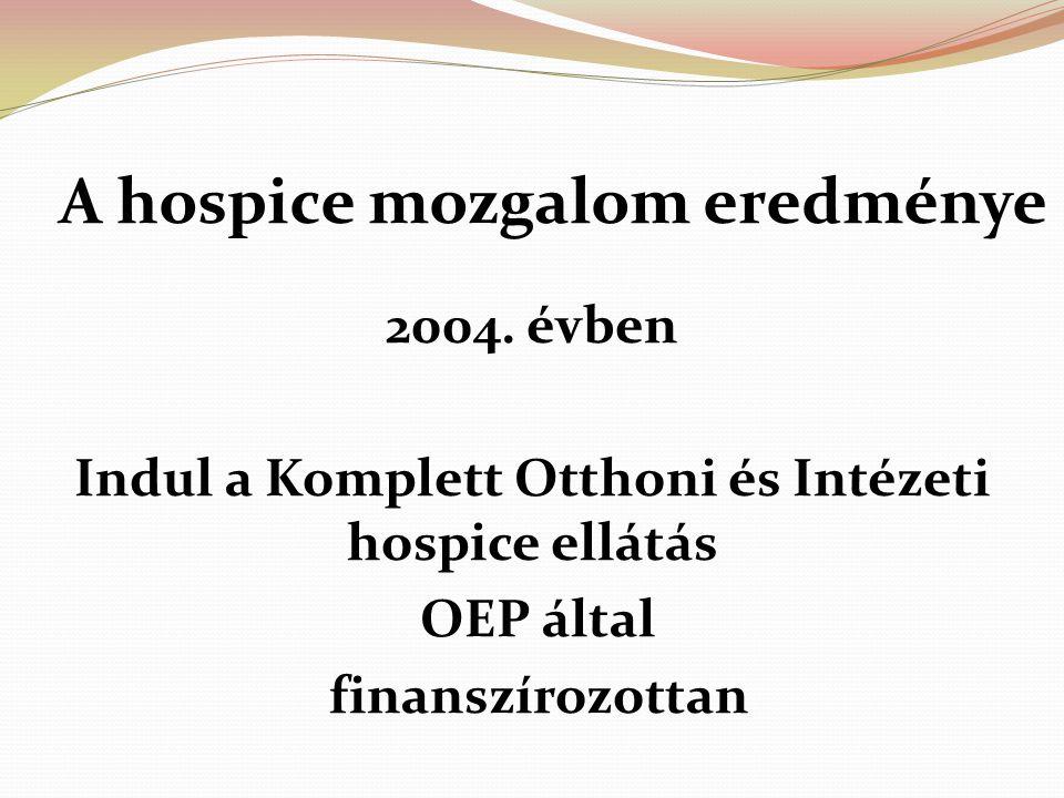 A hospice mozgalom eredménye 2004. évben Indul a Komplett Otthoni és Intézeti hospice ellátás OEP által finanszírozottan