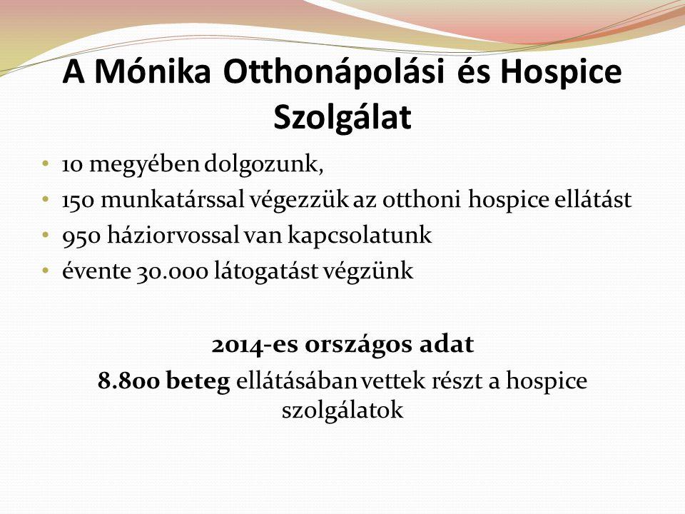 A Mónika Otthonápolási és Hospice Szolgálat 10 megyében dolgozunk, 150 munkatárssal végezzük az otthoni hospice ellátást 950 háziorvossal van kapcsola