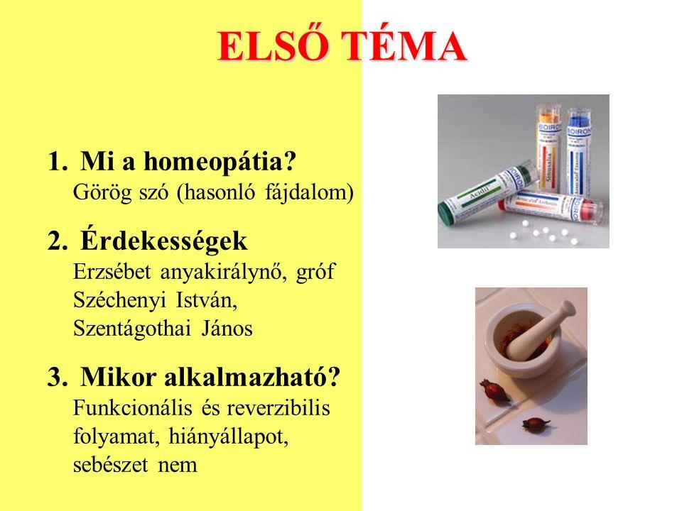 ELSŐ TÉMA 1. Mi a homeopátia? Görög szó (hasonló fájdalom) 2. Érdekességek Erzsébet anyakirálynő, gróf Széchenyi István, Szentágothai János 3. Mikor a