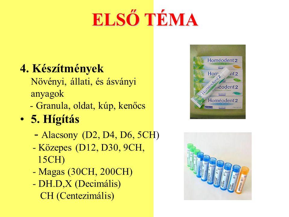 ELSŐ TÉMA 4. Készítmények Növényi, állati, és ásványi anyagok - Granula, oldat, kúp, kenőcs 5. Hígítás - Alacsony (D2, D4, D6, 5CH) - Közepes (D12, D3
