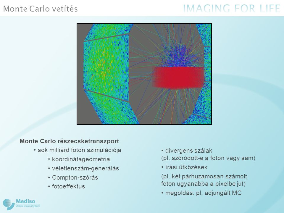 Monte Carlo vetítés Monte Carlo részecsketranszport sok milliárd foton szimulációja koordinátageometria véletlenszám-generálás Compton-szórás fotoeffe
