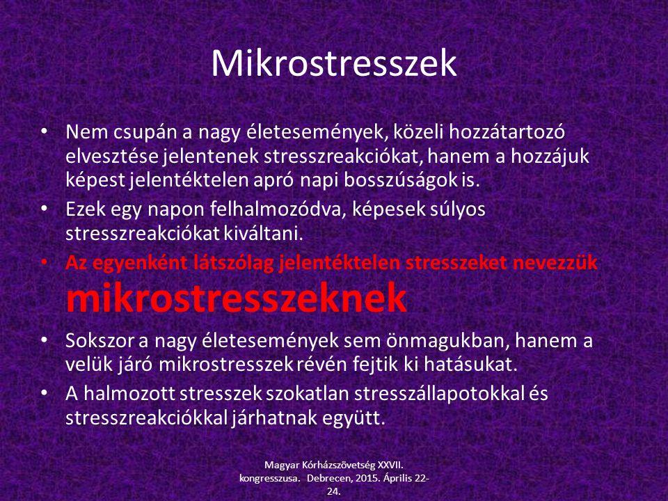 Mikrostresszek Nem csupán a nagy életesemények, közeli hozzátartozó elvesztése jelentenek stresszreakciókat, hanem a hozzájuk képest jelentéktelen apr