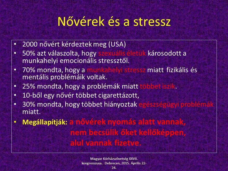 Nővérek és a stressz 2000 nővért kérdeztek meg (USA) 50% azt válaszolta, hogy szexuális életük károsodott a munkahelyi emocionális stressztől. 70% mon