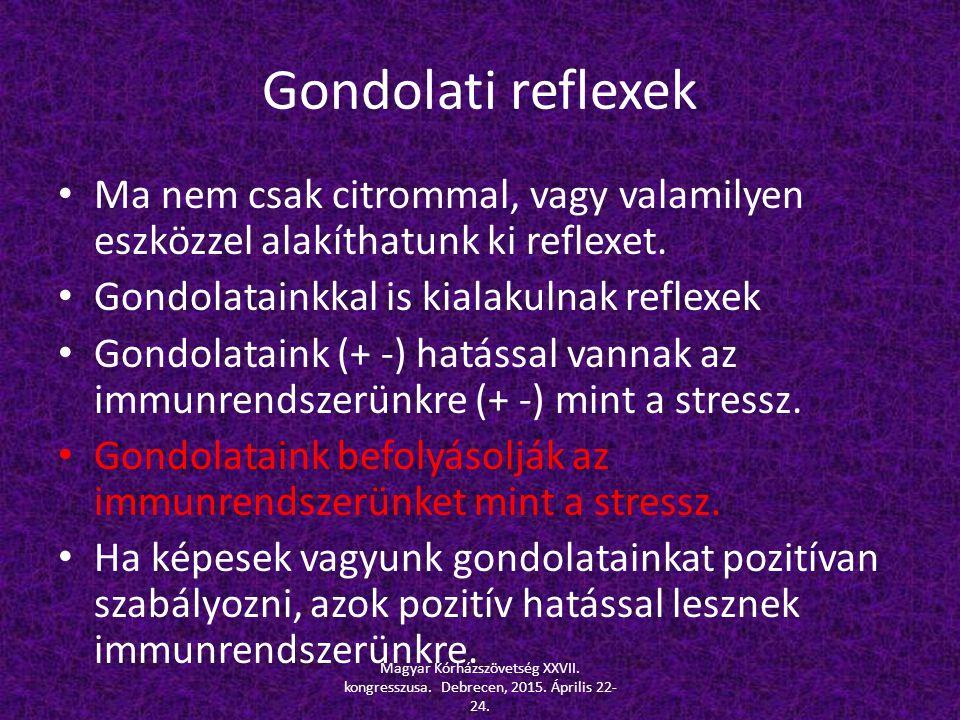 Gondolati reflexek Ma nem csak citrommal, vagy valamilyen eszközzel alakíthatunk ki reflexet. Gondolatainkkal is kialakulnak reflexek Gondolataink (+