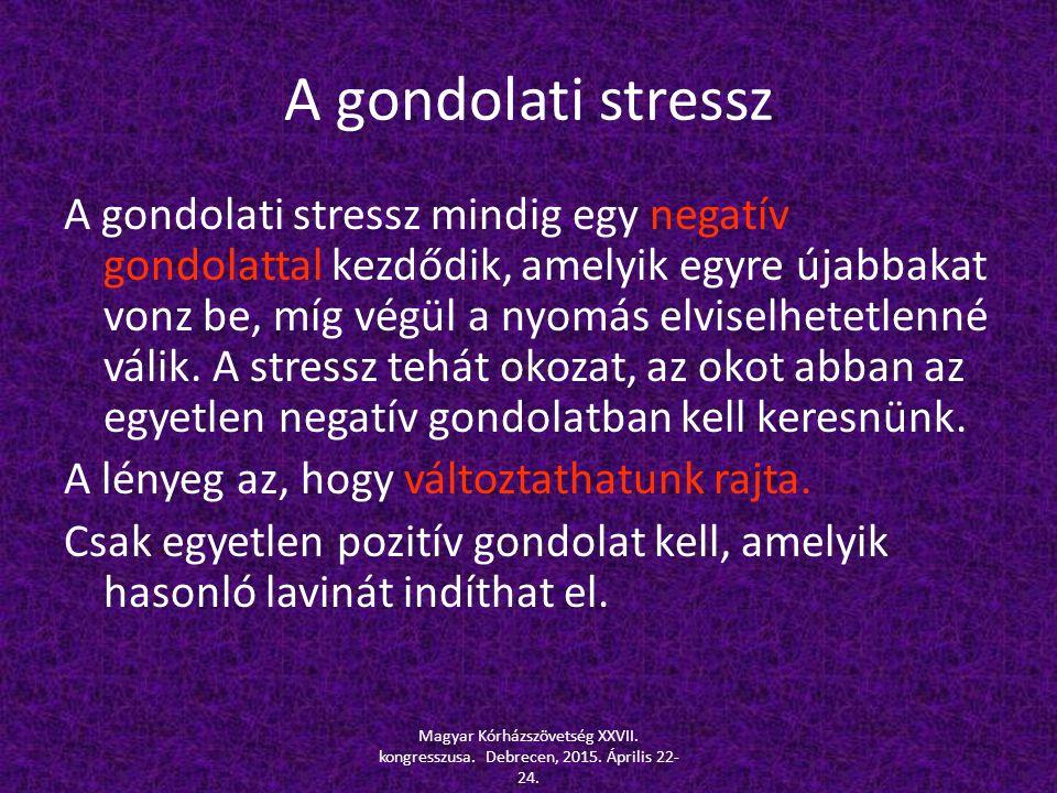 A gondolati stressz A gondolati stressz mindig egy negatív gondolattal kezdődik, amelyik egyre újabbakat vonz be, míg végül a nyomás elviselhetetlenné