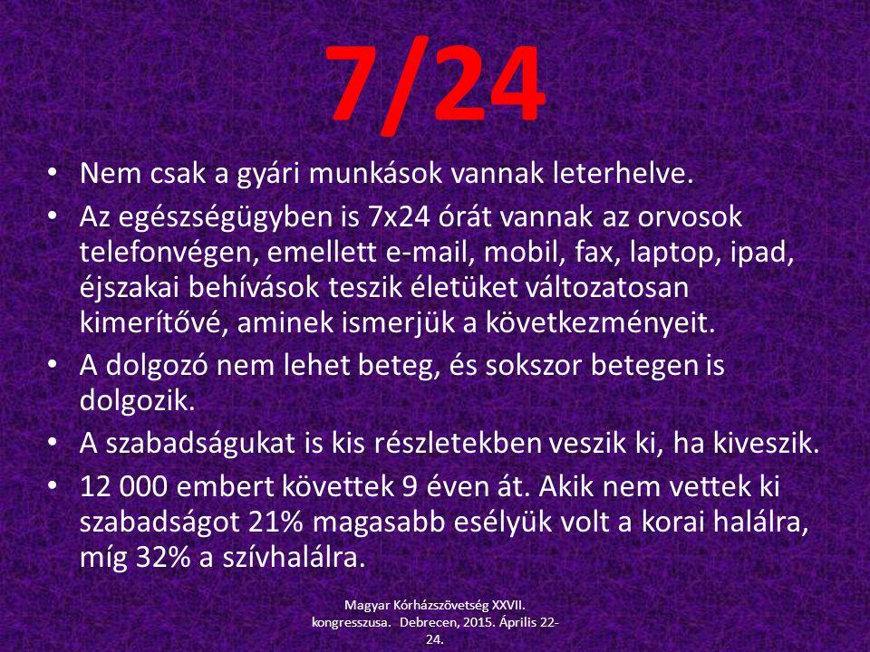 7/24 Nem csak a gyári munkások vannak leterhelve. Az egészségügyben is 7x24 órát vannak az orvosok telefonvégen, emellett e-mail, mobil, fax, laptop,