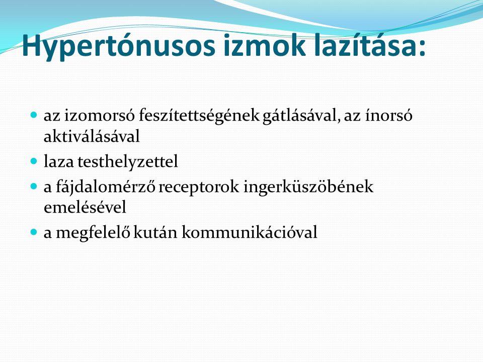 Hypertónusos izmok lazítása: az izomorsó feszítettségének gátlásával, az ínorsó aktiválásával laza testhelyzettel a fájdalomérző receptorok ingerküszö