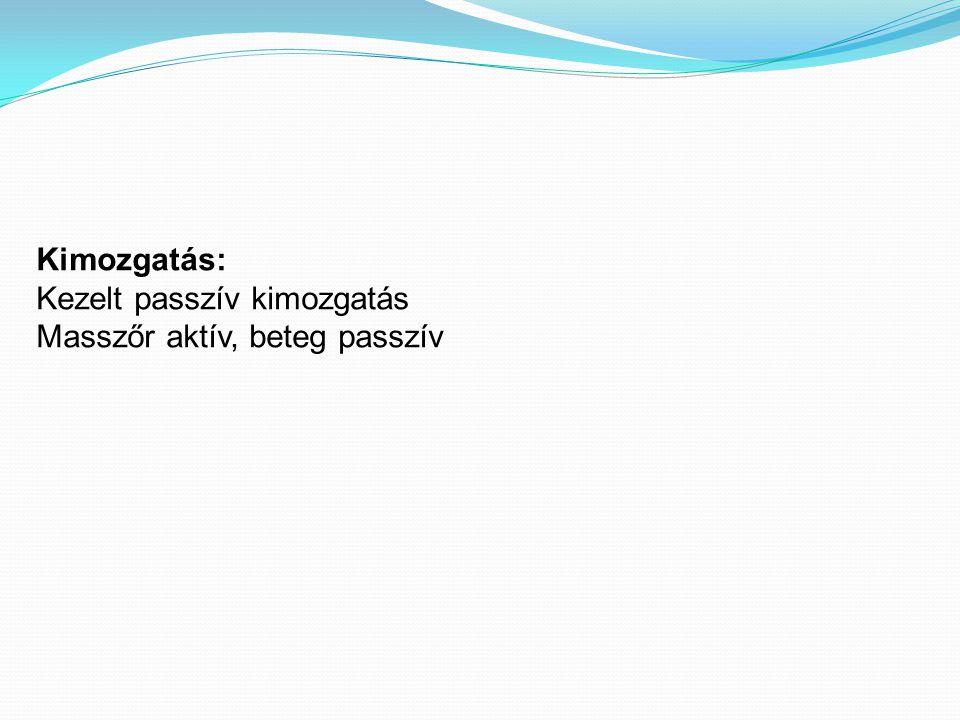 Kimozgatás: Kezelt passzív kimozgatás Masszőr aktív, beteg passzív