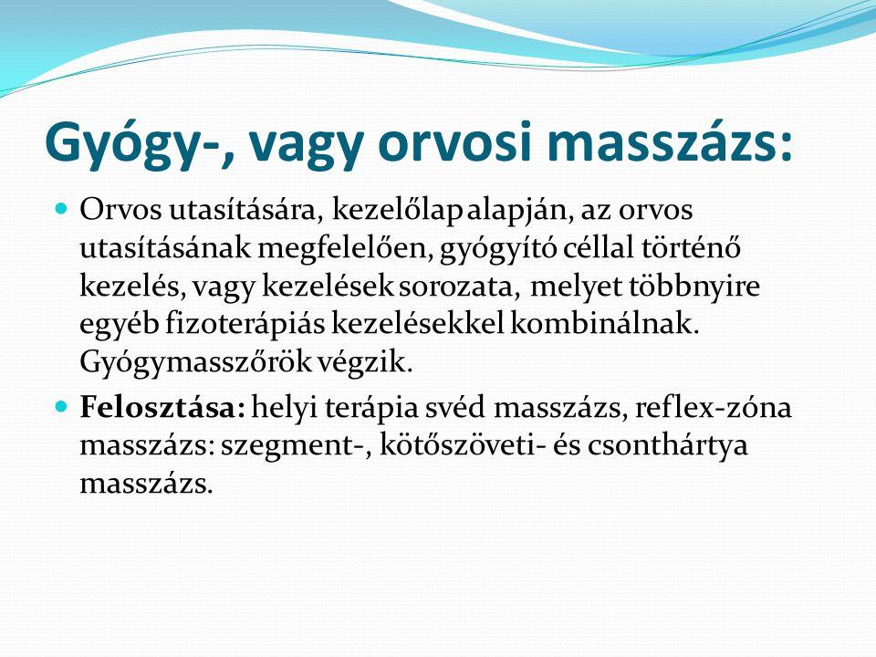 Gyógy-, vagy orvosi masszázs: Orvos utasítására, kezelőlap alapján, az orvos utasításának megfelelően, gyógyító céllal történő kezelés, vagy kezelések