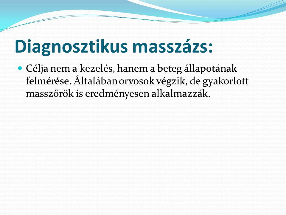 Diagnosztikus masszázs: Célja nem a kezelés, hanem a beteg állapotának felmérése. Általában orvosok végzik, de gyakorlott masszőrök is eredményesen al