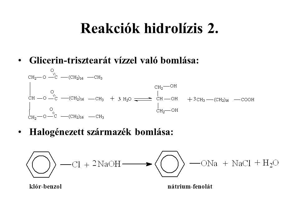Reakciók hidrolízis 2.