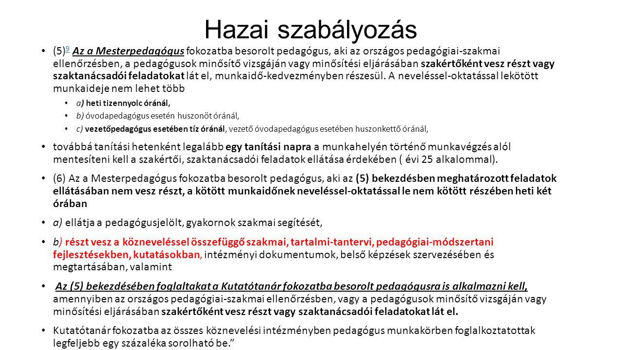 Hazai szabályozás (5) 9 Az a Mesterpedagógus fokozatba besorolt pedagógus, aki az országos pedagógiai-szakmai ellenőrzésben, a pedagógusok minősítő vi