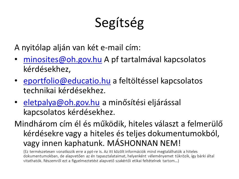 Segítség A nyitólap alján van két e-mail cím: minosites@oh.gov.hu A pf tartalmával kapcsolatos kérdésekhez, minosites@oh.gov.hu eportfolio@educatio.hu a feltöltéssel kapcsolatos technikai kérdésekhez.