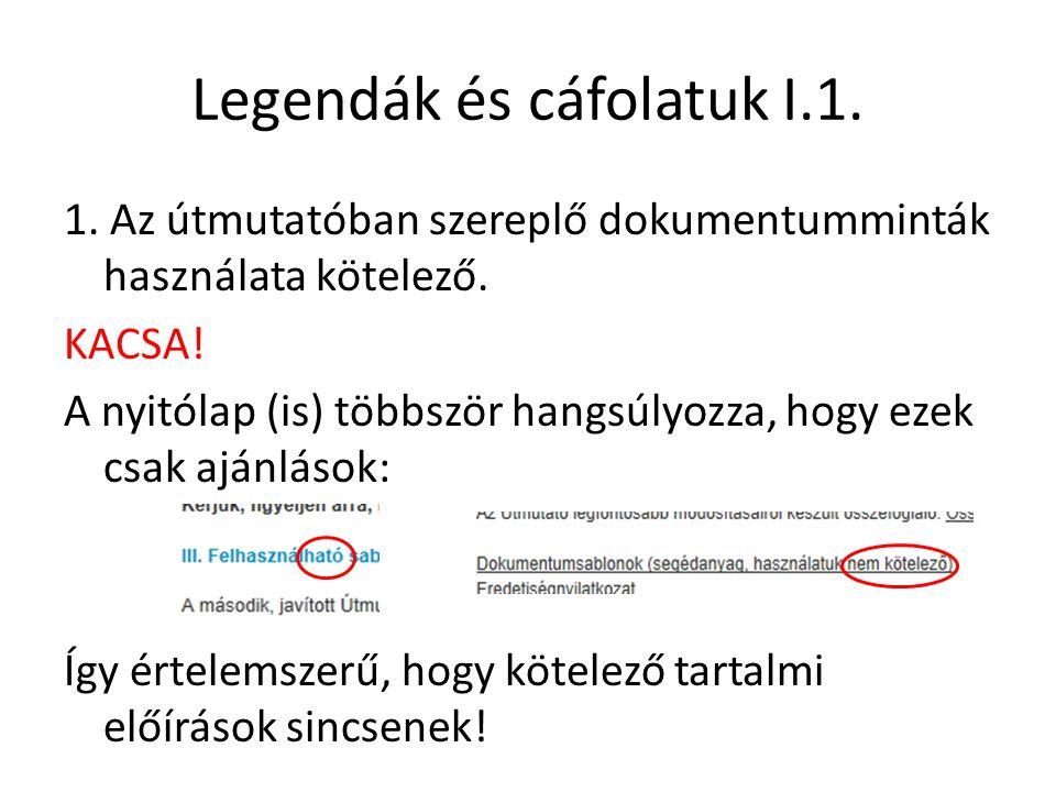 Legendák és cáfolatuk I.1. 1. Az útmutatóban szereplő dokumentumminták használata kötelező. KACSA! A nyitólap (is) többször hangsúlyozza, hogy ezek cs