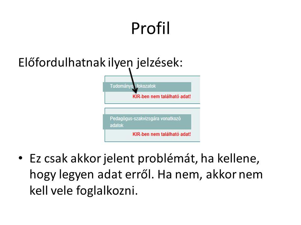 Profil Előfordulhatnak ilyen jelzések: Ez csak akkor jelent problémát, ha kellene, hogy legyen adat erről.