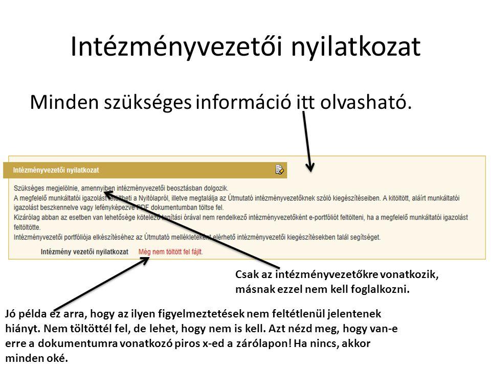 Intézményvezetői nyilatkozat Minden szükséges információ itt olvasható.